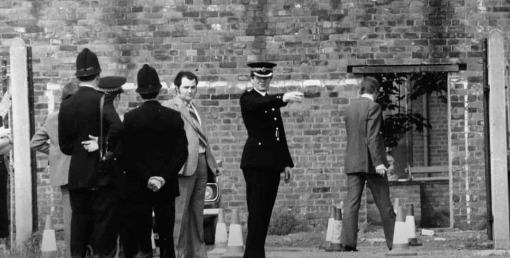 crime scene. Shot from the movie The Ripper